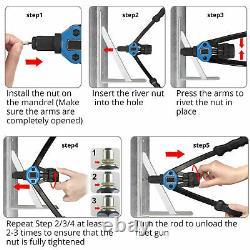 1015PC Rivet Nut Gun Kit Rivnut Setting Tools Nut Setter Tool Hand Blind Riveter