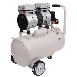 110V 56 DB Silent 6.3 gal 0.8HP Oil Free Portable Air Compressor Blow Gun Kit