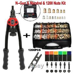 1200pc Rivet Nut Gun Kit Rivnut Setting Tools Nut Setter Tool Hand Blind Riveter