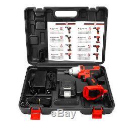 13800mAh 400Nm 1/2'' Electric Impact Wrench Gun High Torque Drill Kit Heavy