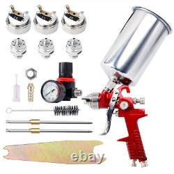 1.4mm 1.7 2.5mm Nozzle HVLP Air Feed Spray Gun Kit Car Paint Primer Clearcoat US