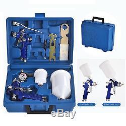 2 pcs HVLP Air Spray Guns Kit Auto Paint Car Primer Basecoat Clearcoat with Case
