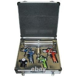 4 Piece HVLP Spray Gun Kit with Aluminum Case TIT19221 Brand New