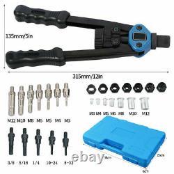 890 + 125PC Nuts Rivet Gun Kit Rivnut Thread Setting Tool Nut Setter NutSert SAE