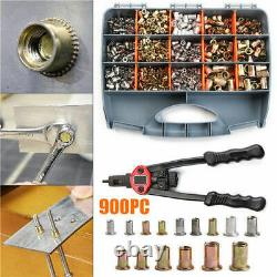 900PCS Rivet Nuts + Rivet Nut Tool Hand Riveter Gun Rivnut Setter Nutsert Kit FS