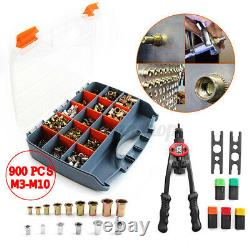 900Pcs Set Nutsert Tool Kit M3-M10 Stainless Steel Hand Rivet Gun Kit Rivnut Nut