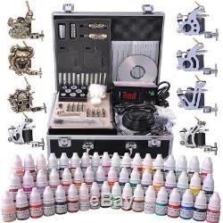 Complete Tattoo Kit 2 4 6 8 Machine Gun Power Supply 40 Ink Needles Set