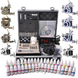 Complete Tattoo Kit 8 Machine Gun 40 Ink Power Supply Grip Tip Needle with Case