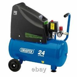 Draper 230V 24L Oil Free Compressor Air Tool Kit Package Spray Gun Washing Gun