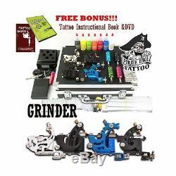 GRINDER Tattoo Kit by Pirate Face Tattoo / 4 Tattoo Machine Guns Power Supp