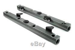 Gm Chevy Billet Aluminum Ls1 Ls6 Intake Fuel Rails Rail Kit Gun Metal Silver