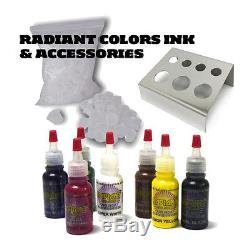 HILDBRANDT Professional Complete Tattoo Kit 4 Machine COIL ROTARY Gun Set INK