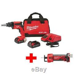 M18 FUEL 18-Volt Lithium-Ion Brushless Cordless Drywall Screw Gun Compact Kit wi