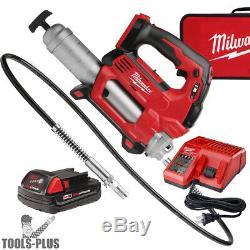 Milwaukee 2646-21CT 18 Volt Li-Ion Cordless 2-Speed Grease Gun Kit 10,000PSI New