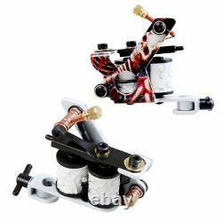NEW Complete Tattoo Kit 2 PRO MACHINE Guns 20 Color Ink Power Supply Tattoo Love