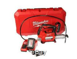 New 18 Volt Lithium Ion Cordless 2 Speed Grease Gun Kit Heavy Duty LED Light Red