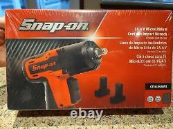 New Sealed Snap On Gun Metal Gray 3/8 Dr. 14.4 V. Cordless Impact Kit Ct761agmw2
