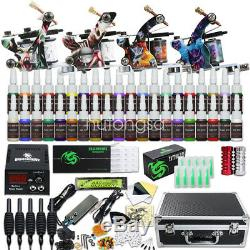New Tattoo Kit 4 Machine Gun 40 color Ink Power supply needle Grip Tip Set H