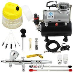 OPHIR PRO Airbrush Kit with Air Compressor Air Brush Gun Paint for Model Paint