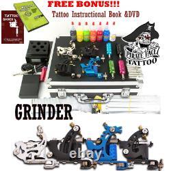 Pirate Face Tattoo, GRINDER Tattoo Kit, 4 Tattoo Machine Guns, Power Supply, 7 Ink