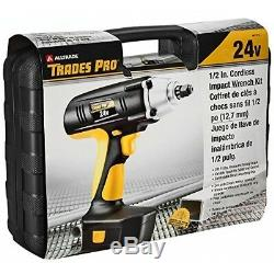 Portable Cordless Impact Wrench Kit Drill Gun 24V 1/2 Inch Drive Battery Charger