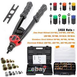 Premium Automatic Rivet Tool Set Riveter Gun with 1450 Rivet Nut Blind Rivet Gun