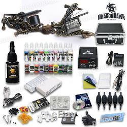 Pro Complete Tattoo Machine Kit 2 LUO Gun 21 Ink Power Supply Case Needle Set