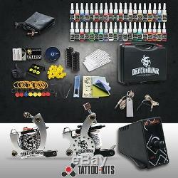Professional Complete Tattoo Kit 2 Top Machine Gun 40 Color Ink 20 Needle