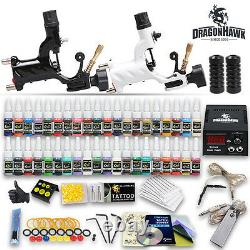 Professional Complete Tattoo Kit 2 Top Rotary Machine Gun 40 Color Ink 20Needles