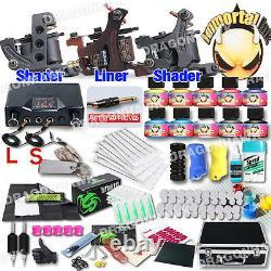Professional Complete Tattoo Kit 3 Top Machine Gun 10 Inks 50Needle Power Supply