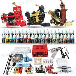 Professional Complete Tattoo Kit 3 Top Machine Gun 40 Color Ink 50 Needles