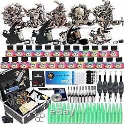 Professional Complete Tattoo Kit 9 Top Machine Gun 25 Ink 50 Needle Power Supply