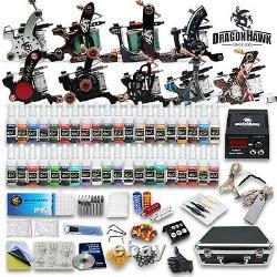 Professional Complete Tattoo Kit 9 Top Machine Gun 40 Ink 50 Needle Power Supply