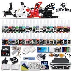 Professional Rotary Tattoo Machine Kit Equipment 4 Gun Power Supply 40 Inks Set