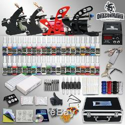 Professional Tattoo Kit Rotary 4 Machine Gun Power Supply 40 Inks Case Set