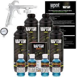 Raptor Blue Metallic Urethane Spray-On Truck Bed Liner Spray Gun, 4 Liters