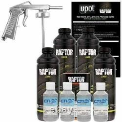 Raptor U-POL Dove Gray Urethane Spray-On Truck Bed Liner Kit withFree Spray Gun 4L