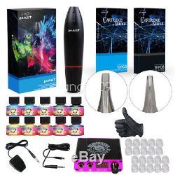 TOP Tattoo Kit Motor Pen Machine Gun Color Inks Power Supply Needles D3029Q