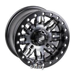 Tusk Beadlock Wheels Rims Kit Teton Gun Metal 14x7 Polaris RZR XP XP4 Turbo 1000