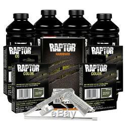 U-POL 821 + 4865 Olive Green 4L Raptor Spray-On Truck Bed Liner Kit with Gun
