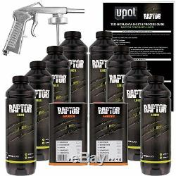 U-POL RAPTOR Two(2) Black Spray-On Truck Bedliner Kits + 1 Spray Gun
