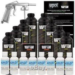 U-POL Raptor Bright White Urethane Spray-On Truck Bed Liner WithFree Spray Gun 8L