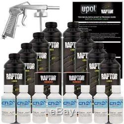 U-POL Raptor Ford White Urethane Spray-On Truck Bed Liner WithFree Spray Gun 8 L