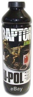 U-POL Raptor Tintable Black Metallic Bed Liner Kit with Spray Gun, 4 Liters Upol