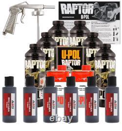 U-POL Raptor Tintable Black Metallic Bed Liner Kit with Spray Gun, 6 Liters Upol