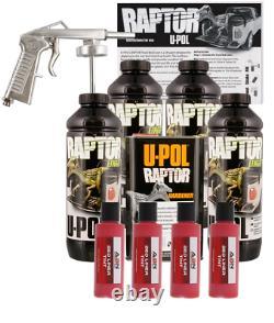 U-POL Raptor Tintable Hot Rod Red Bed Liner Kit with Spray Gun, 4L Upol