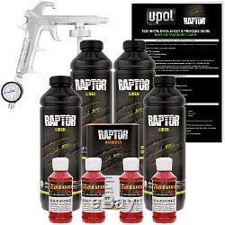 U-POL Raptor Tintable Hot Rod Red Spray-On Truck Bed Liner Spray Gun, 4 Liters