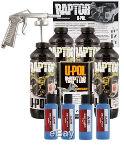 U-POL Raptor Tintable Reflex Blue Bed Liner Kit with Spray Gun, 4L Upol