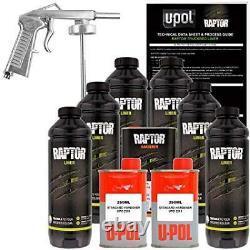 U-POL Raptor Tintable Urethane Spray-On Truck Bed Liner Kit withSpray Gun, 6 Liter