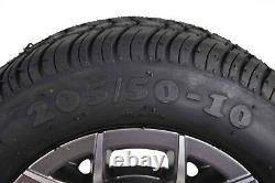 Yamaha 18 MASSFX Gun Metal Golf Cart 205/50-10 Tire Wheel Kit 10x7 Rim 4 Pack